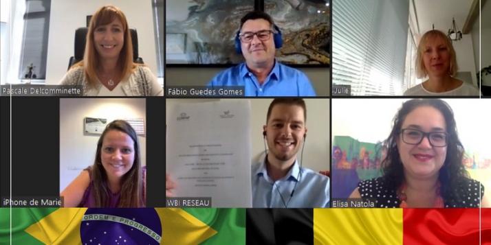 Pascale Delcomminette – Administratrice générale de WBI ; Prof. Fábio Guedes Gomes - Président de Confap et de la Fondation de soutien à la recherche de l'État d'Alagoas (Fapeal) ; Julie Dumont - Agent de Liaison Scientifique de WBI au Brésil ; Marie Beheyt - Chef de projet, Département Recherche & Innovation WBI ; Alexandre Gofflot - Chef du département WBI en Amérique latine et dans les Caraïbes ; Elisa Natola - Conseillère pour la coopération internationale Brésil-Europe chez Confap