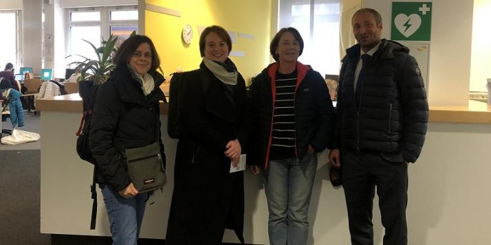 Dr-Prof. Indra Noël (UMons), Dr-Prof. Natacha Body (Umons, coordinatrice Année allemande), Dr. Gabrielle Krause, Professeur et directrice du Département linguistique pour la langue française, Mathieu Quintyn