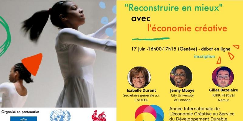 """Affiche - Débat """"Reconstruire en mieux"""" avec l'économie créative"""