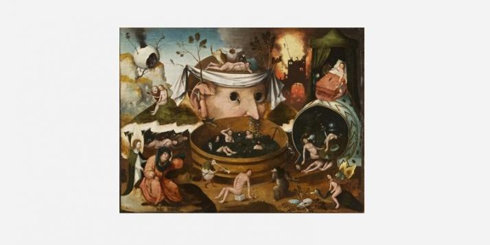 École de Hieronymus Bosch, La Vision de Tondal, 1520-1530. Huile sur bois, 54 x 72 cm. Madrid, Fundación Lázaro Galdiano. © Museo Lázaro Galdiano. Madrid - cliquer pour agrandir