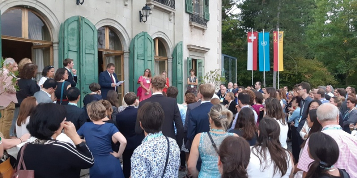 David Royaux, Délégué général Wallonie-Bruxelles à Genève, lors du discours d'ouverture de la soirée belge de réseautage, dans le cadre du Salon de la European Association for International Education (EAIE) qui s'est tenu à Genève - cliquer pour agrandir